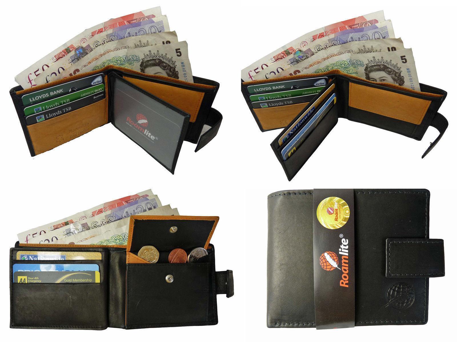 Designer Men's Leather Wallet Black, 6 Credit Card Slots ID Card Holder Mans NEW
