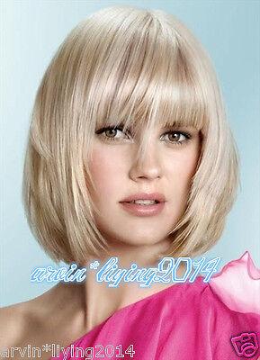 Fashion sexy ladies bob short Blonde Natural Hair wigs + Free wig cap