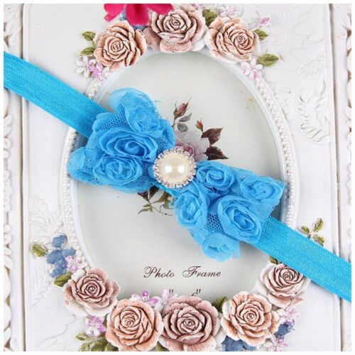 Elastic Girl Kid Baby Darling Rose Bow Newborn Hairband Lace Flower Headband