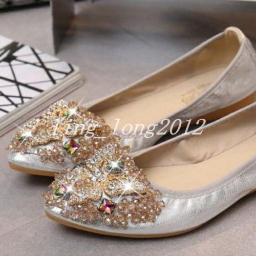 Casual Femmes Derbies femme strass bout pointu et Mocassins Slip on Flats Shoes