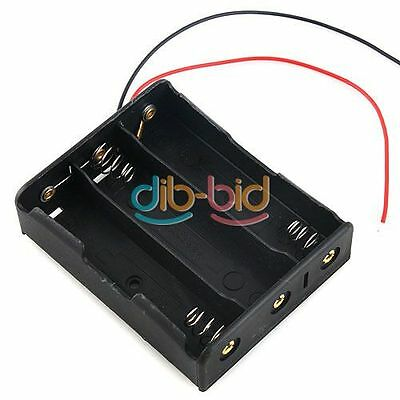 """Battery Storage Case Box Holder for 3 x 18650 Black with 6"""" Wire Leads OZ"""