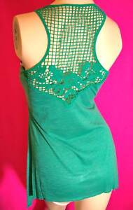 Woman-039-s-top-tunic-blouse-Summer-Sun-Tank-crochet-back-front-pocket-Green-S-M-L