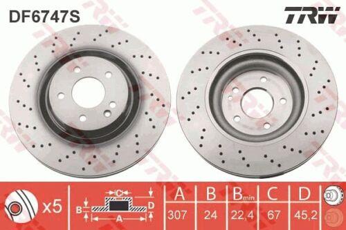 2x TRW Bremsscheibe DF6747S für BMW F46 F45 X1 F48 307mm vorne 2er Active Tourer