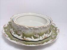 LIMOGES Tressemann Vogt Gilt 3 Piece Floral Pudding Berry Dessert Set Bowl Plate