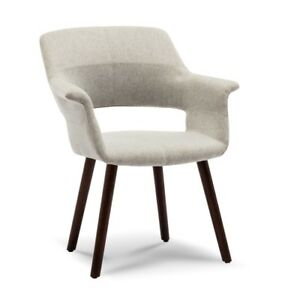 Accent-Chair-Mid-Century-Style-Dining-Living-Room-Padded-Armrest-Wood-Leg-Gray