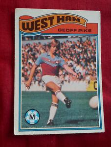 WEST HAM UNITED FOOTBALL CLUB 1978 TOPPS CARD GEOFF PIKE  213 VGC WHUFC UPTON - Wirral, Merseyside, United Kingdom - WEST HAM UNITED FOOTBALL CLUB 1978 TOPPS CARD GEOFF PIKE  213 VGC WHUFC UPTON - Wirral, Merseyside, United Kingdom