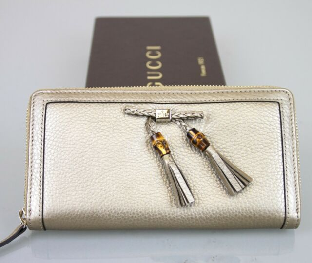 New Authentic Gucci Leather Bamboo Tassel Continental Zip Around Wallet, 269991