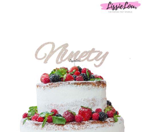 LissieLou Ninety Birthday Cake Topper 90th Glitter Card Made in the UK