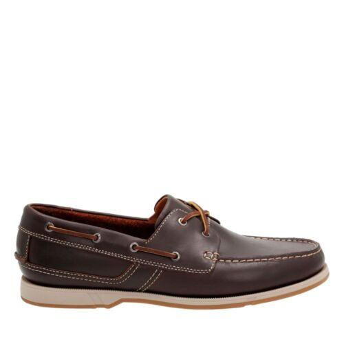 uomo Nuova barca Row in marrone 9g scuro Clarks pelle Uk Fulmen taglia da scarpa nHAwYHt
