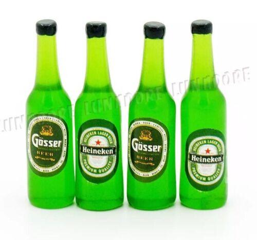 Dollhouse 4 Miniature Heineken Gosser Beer Bottles Lot 4cm US Seller