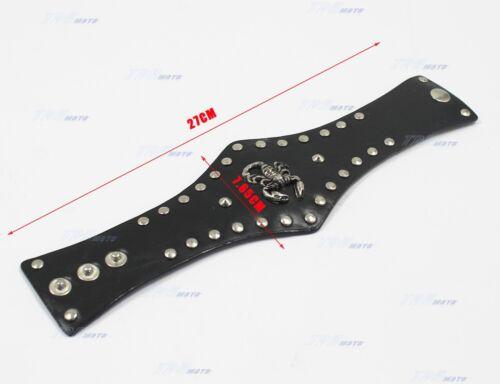 1pc Men Women Boy Black Leather Bullet Scorpion Bracelet Wristband Cuff Punk