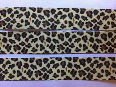 "Leopard 22mm 7//8/"" 3 Metres of May Arts Grosgrain Animal Print Ribbon"