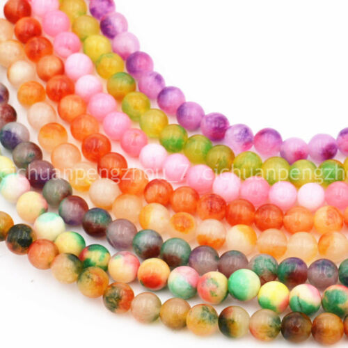"10 Mm Naturel Brésilien Multicolor Jade Round Gemstone Loose Beads 15/"" Strand"