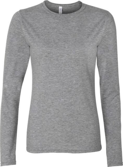 a1008924385c6 Gildan Womens Long Sleeve T-shirt Womens Softstyle 100 Cotton Top 8 Colours  Sports Grey S