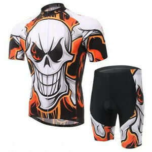 2016 Skull Bike Cycling Clothing Suit Sport Bicycle Short Jersey Shorts Set