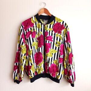 Vintage JKLA Floral Striped Jacket Size Medium Women's Black White Print Rayon