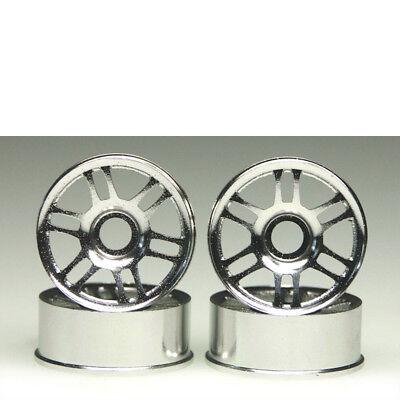 4pcs 1 10 Langlebig RC Flachwagen Gummireifen Set mit Silber 5 Speichen Felgen