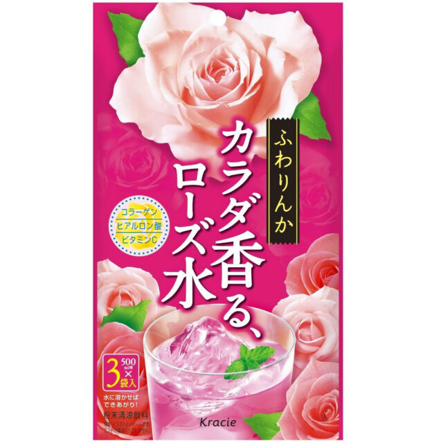 Kracie Japan fuwarinka Beauty Collagen Rose Water Powder Drink for 3 x 500ml
