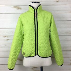 Descente-North-America-DNA-Women-039-s-Lime-Green-Black-Trim-Quilted-Jacket-Size-8