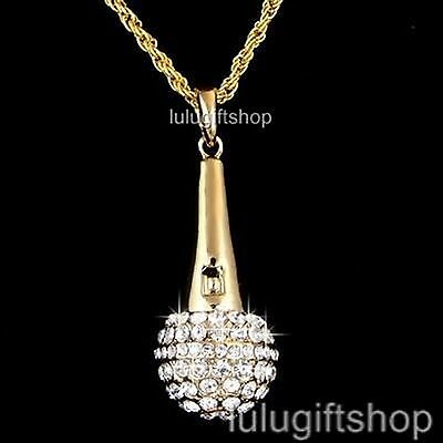 GOLD PLATED MICROPHONE PENDANT ROPE CHAIN NECKLACE USE SWAROVSKI CRYSTAL BLING