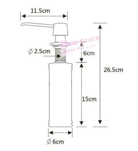 Kitchen Sink Soap Dispenser Brushed Nickel Head ABS Bottle D42-B