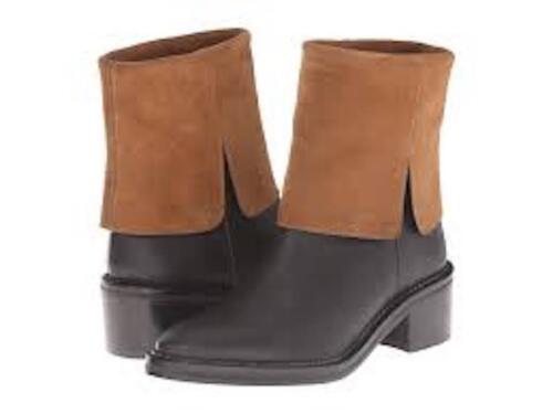 Miista Kamila Black & Tan Leather Pull on Boots si