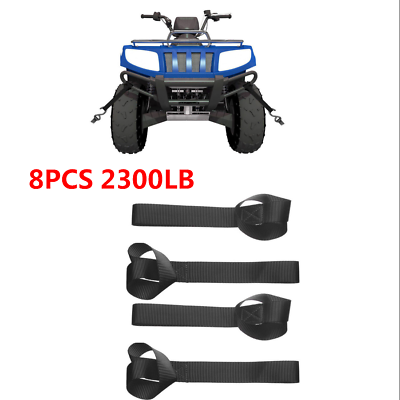 8 Pcs Soft Loop Tie Down Straps Ratchet Towing Cargo ATV UTV Motorcycle 2300 lb