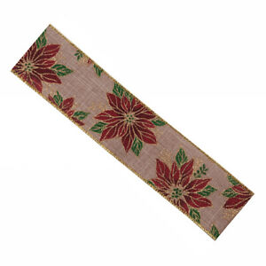 Luxury Wire Edge Ribbon 63mm Christmas POINSETTIA Gold on Burgundy shimmer