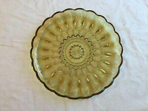 Vintage-Amber-Cut-Glass-10-034-Round-Scalloped-Rim-Optic-Sunburst-Serving-Platter