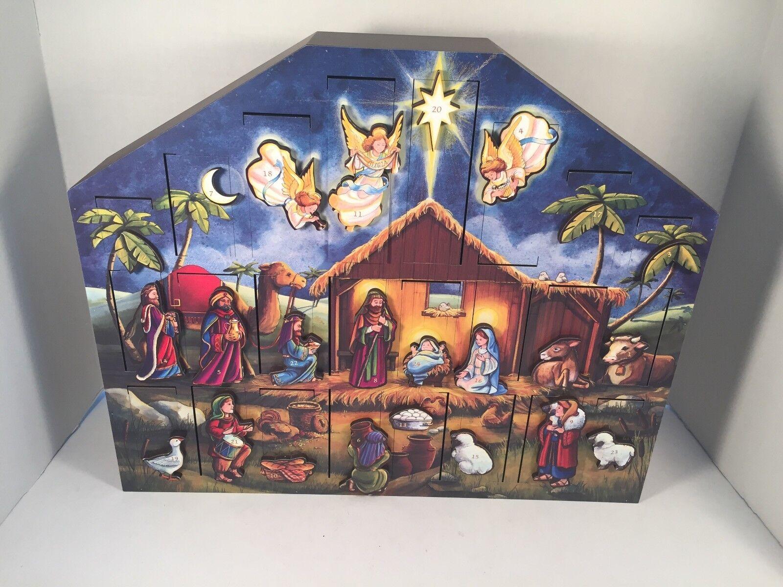 Byers Choice Advent Calendar Nativity Christmas Countdown Wood Traditions