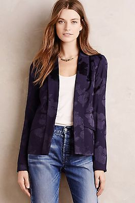 Industrious Nwt Anthropologie By Elevenses Soft Brocade Blazer Was $158 Modern And Elegant In Fashion Navy Size 4