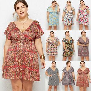 Womens-Plus-Size-Casual-V-Neck-Floral-Tea-Dress-Cocktail-Party-Beach-Sundress