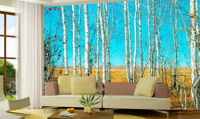 Huge 3D Blau Sky Weiß Trunk Paper Wall Print Decal Wall Deco Indoor wall Murals