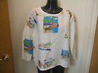 Hot Cotton Marc Ware Top Shirt Beach Scene Linen Cotton Boxy Medium Cruise White