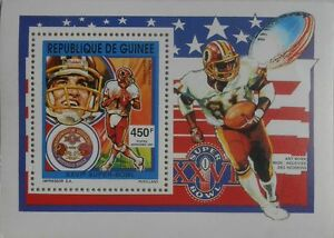 Baseball players SUPER-BOWL Mark Rypien Art Monk s/s Guinea 1992 MNH #M263