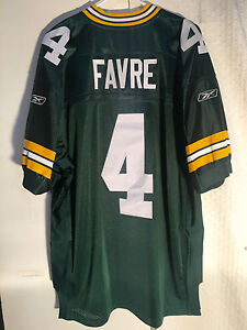 new product b7ceb 013ba Details about Reebok Authentic NFL Jersey GREEN BAY Packers Brett Favre  Green sz 50