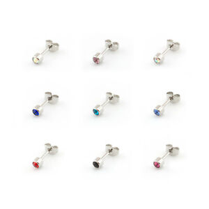 Surgical-Steel-CRYSTAL-EAR-STUDS-Earrings-Various-Colours-Pair-Of