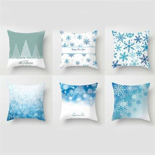 Christmas Snowflake Printed Pillowcase Cushion Cover Sofa Home Decor Pillow Case