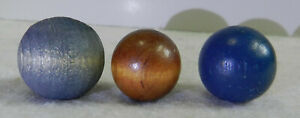 #11423m Vintage Group of 3 Wood Marbles .74 .81 .88 Inches
