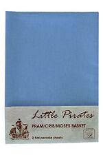 2 X Cochecito de Bebé/Cuna/Moisés Hoja Plana Azul 100% algodón