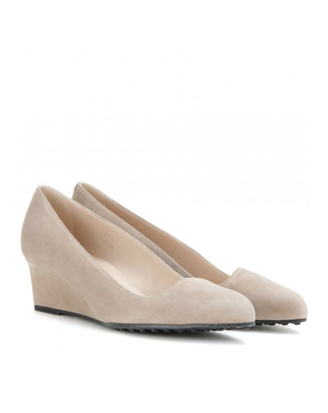 Tod's Stone Beige Suede Leather Mid Heel Wedge Court shoes UK5.5 EU38 US8