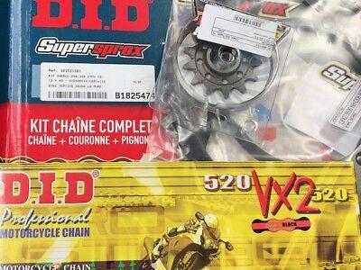 KIT CHAINE SHERCO 250//300 SEF 4 TEMPS 13X49 CHAINE DID VX2  COURONNE ACIER  PBR