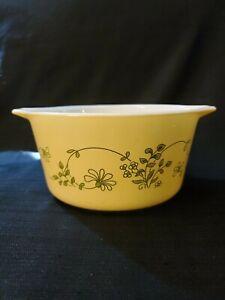 Vintage-Pyrex-Shenandoah-473-B-Casserole-Dish-1-L-Yellow-Green