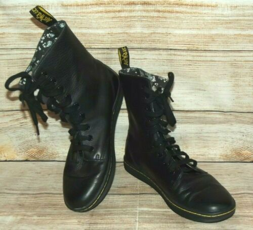 DR. MARTENS Stratford Black Leather Boots Womens S