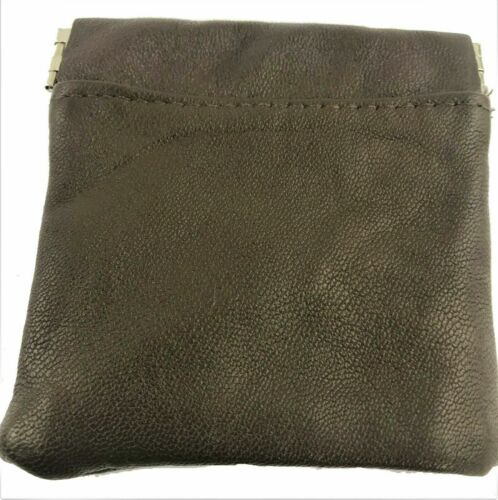 UNISEX MENS LADIES SOFT BLACK LEATHER COIN POUCH PURSE SNAP WALLET  UK STOCK*SPC