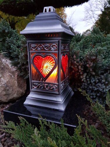 Grablaterne + LED  Kerze Grablampe Lampe Grab Grableuchte Granit Grablicht Engel