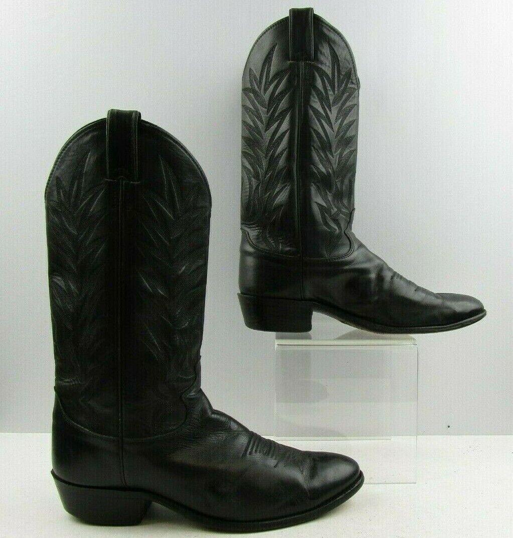Para hombres Cuero Negro Justin Roper Western Cowboy botas Talla  9.5 D