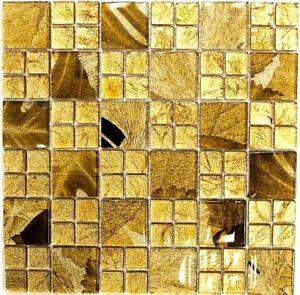 Mosaico-VETRO-combinazione-Desert-ORO-PIASTRELLE-SPECCHIO-Muro-Art-88-8dsg-10-Tappetini