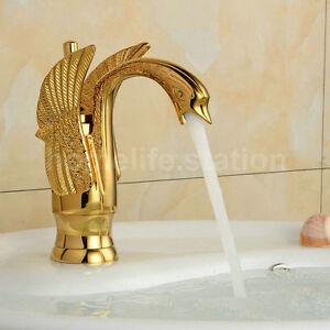 waschbecken waschtisch einhebelmischer wasserhahn schwan armatur retro in gold ebay. Black Bedroom Furniture Sets. Home Design Ideas