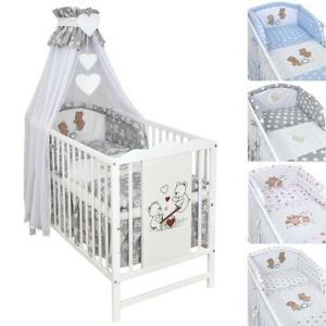 babybett kinderbett gitterbett 120x60 wei teddyb r bettw sche bettset komplett ebay. Black Bedroom Furniture Sets. Home Design Ideas
